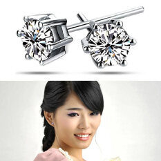 Maxnina Metal Inlaid Rhinestone Bling Classic Hot Sale Women Stud Earrings Silver By Zxy-Shop.