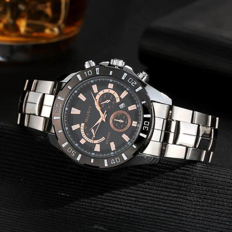 McyKcy Luxury Mens Stainless Steel Date Quartz Analog Sport Wrist Watch Black Malaysia