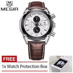 MEGIR 2020G Luxury Sport Chronograph Quartz Mens Watch (White) with Genuine Leather Band Malaysia