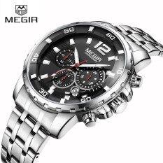 Megir 2068 Men s Watch Male Fashion Quartz Wristwatches Luminous Waterproof  Clock With Stainless steel strap Band 6b4e5c2222
