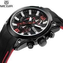 Megir Fashion Mens Watches Men's Chronograph Analog Quartz Watch with Date Luminous Hands Waterproof Silicone Rubber Strap Sport Wristswatch for Man