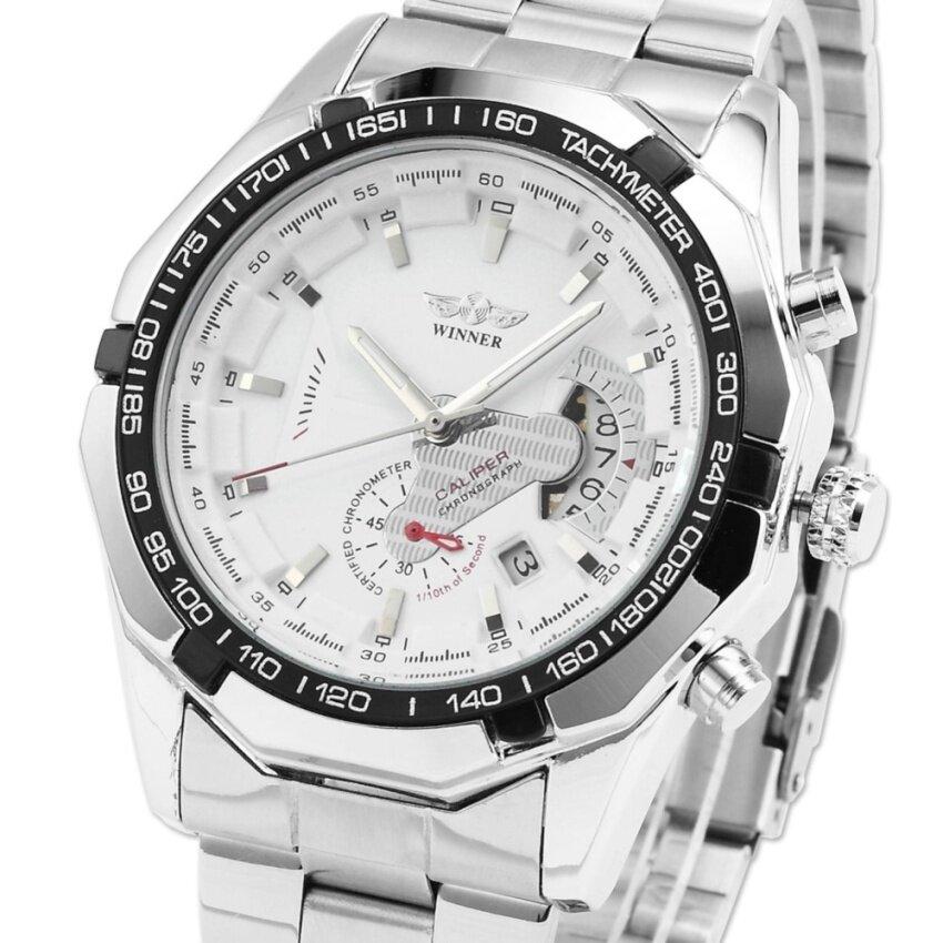 Men Automatic Mechanical Date Silver Steel Band Business Wrist Watch PMW104 Malaysia