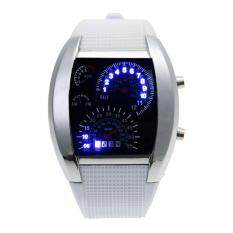 【Crystalawaking】Men Blue White LED Watch Black Rubber Speedometer Digital Watch (White) Malaysia
