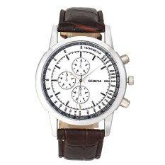 Men Business Design Dial Leather Band Analog Quartz Wrist Watch Brown Malaysia