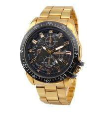 Men Business Style Gold Stainless Steel Watch Round Dial Quartz Wristwatch with Calendar Malaysia