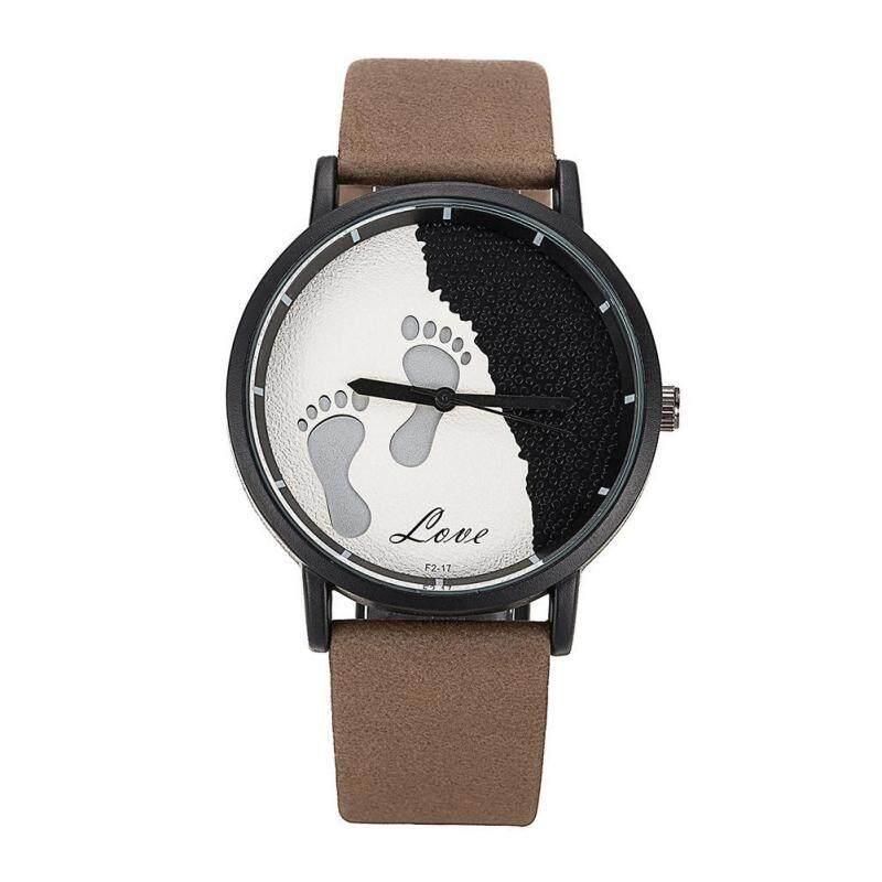 Men Three-dimensional Effect Foot Prints Fashionable Wrist Watch(Brown) Malaysia