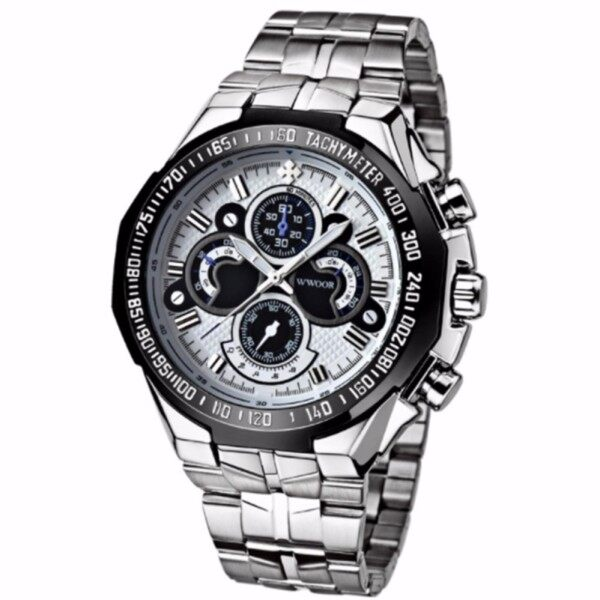 Men Watches Birthday Gift Luxury Full Stainless Steel Wristwatch Men Clock Military Watches (White) Malaysia