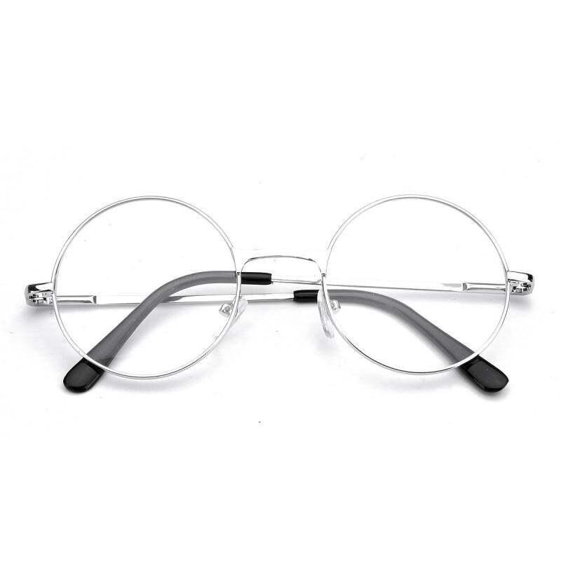 17054c44a86 KMDSHXNS Men Women Presbyopic Round Reading Glasses Silver Metal Eyeglass  Flat Black +1.5 Mirror