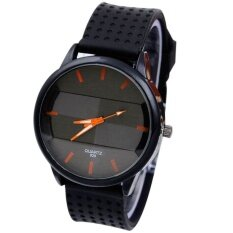 Mens Casual Fashion Watch Stereo Surface Silicone Watch Orange Malaysia