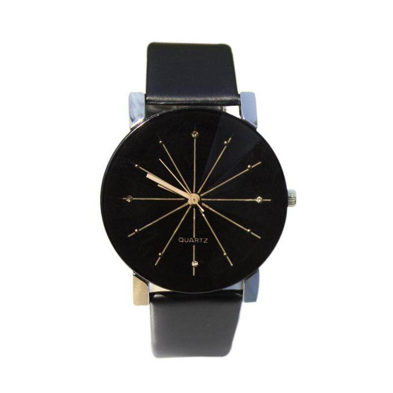 Mens Casual Style PU Leather Watchband Round Dial Couples Watch Malaysia