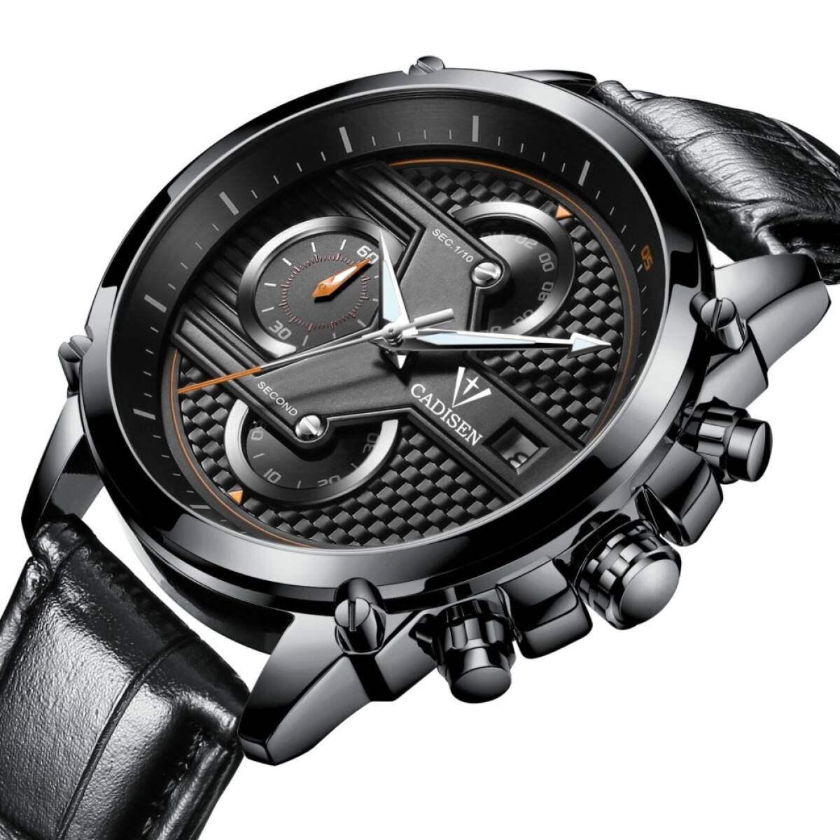 Lelaki Mode Kronograf QUARTZ Sukan Jam Mens Watch Top Jenama Mewah Tali Kulit Kalis Air Perniagaan Watch Hadiah Kotak