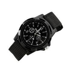 Mens Fashion Sport Braided Canvas Belt Watch Analog Wrist Watch Black Malaysia