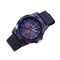 Mens Fashion Sport Braided Canvas Belt Watch Analog Wrist Watch Purple Malaysia