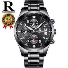 Mens Watch ONTHEEDGE Brand Double Butterfly Buckle Stainless Steel Band Clock Multifunction Waterproof Mechanical Wristwatch 028 Malaysia