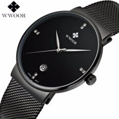 Mens Watches Top Brand Luxury Stainless Steel Mesh Strap Casual Watch Men Ultra Thin Quartz Date Black Clock Male Waterproof Sport Watch Malaysia