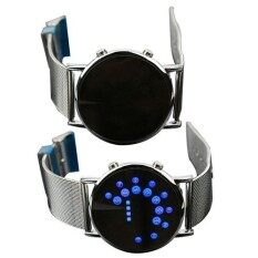 Mens Womens Creative Ultra Thin Round Mirror Blue Circles Alloy Watch Malaysia