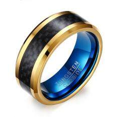 Men's Black and Gold Plated Tungsten Carbide 8mm Carbon Fiber Inlay Comfort Fit Wedding Band Ring