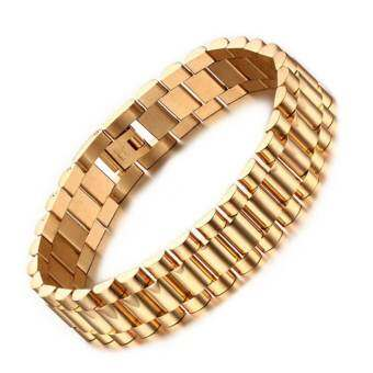 Men's Bracelet 18k Gold Plated 22cm Chunky Chain Bracelets Bangles Stainless Steel Male Jewelry Gift-
