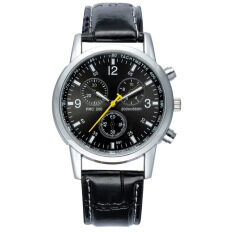 Mens Business Waterproof Quartz Watches Fashion Metal Alloy Leather Strap Watches - Black Malaysia
