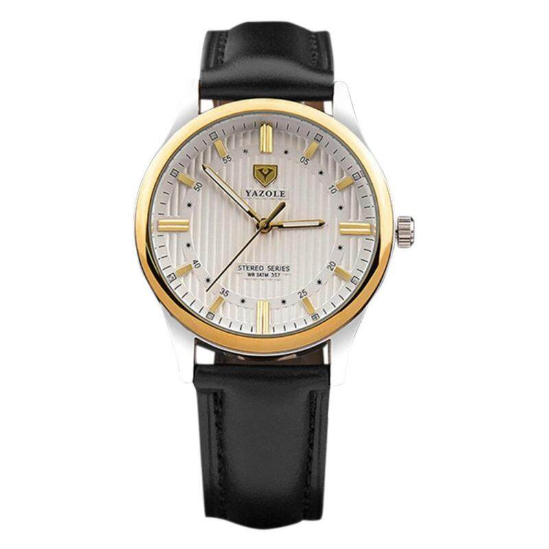 COROMOSEMen's Fashion Casual Round Dial Golden Case Leather Strap Waterproof Luminous Hands Quartz Watch Color:Black Malaysia