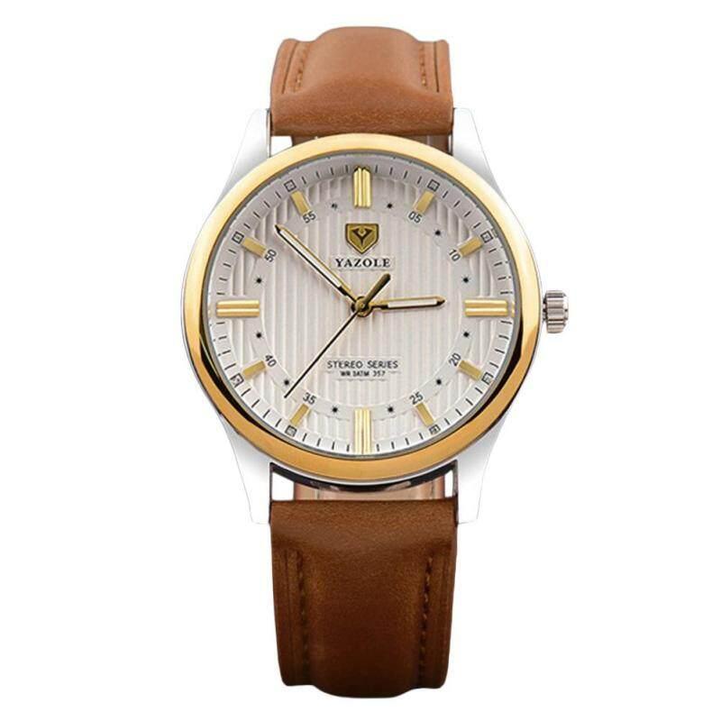 COROMOSEMen's Fashion Casual Round Dial Golden Case Leather Strap Waterproof Luminous Hands Quartz Watch Color:Brown Malaysia