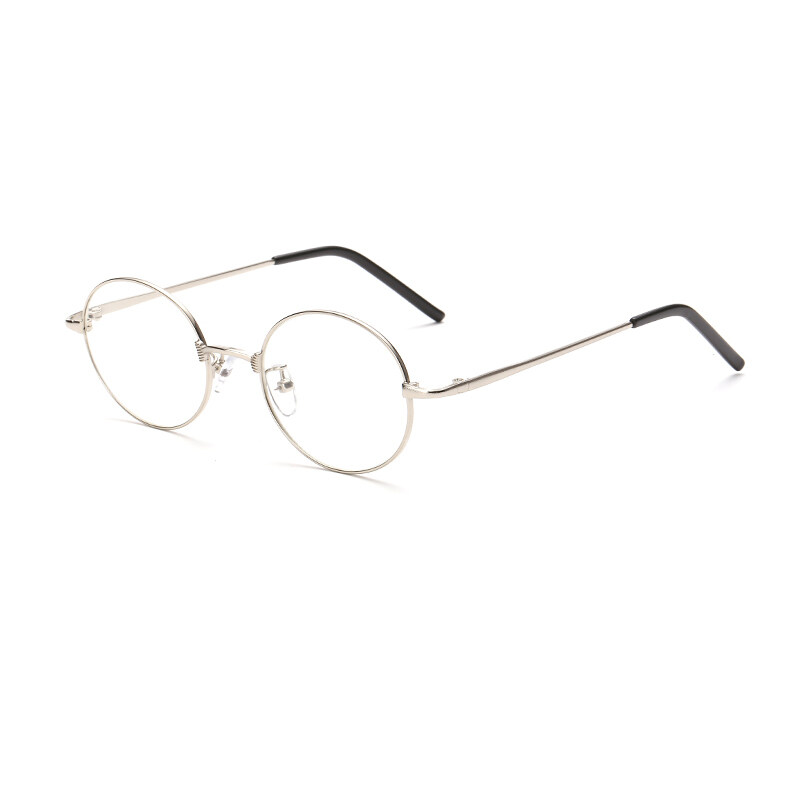 2629fe5ff18 JINQIANGUI Men s Fashion Glasses Frame Oval Glasses Silver Frame Glasses  Titanium Frames Plain for Myopia Men