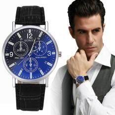 Mens Luxury Crocodile Faux Leather Analog Blu-Ray Business Wrist Watch BK Malaysia