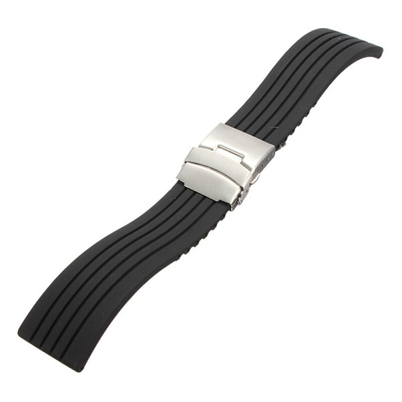 Mens Silicone Rubber Watch Strap Band Waterproof Deployment Clasp 22mm Malaysia