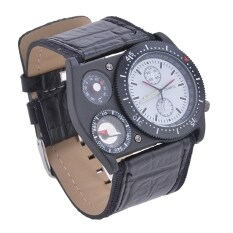 Mens Synthetic Leather Band Sports Wrist Watch With Thermometer (White) Malaysia