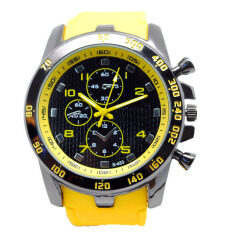 Mens  Watch Large Dial Sport Analog Quartz Wrist Watch Rubber Band Yellow- Malaysia