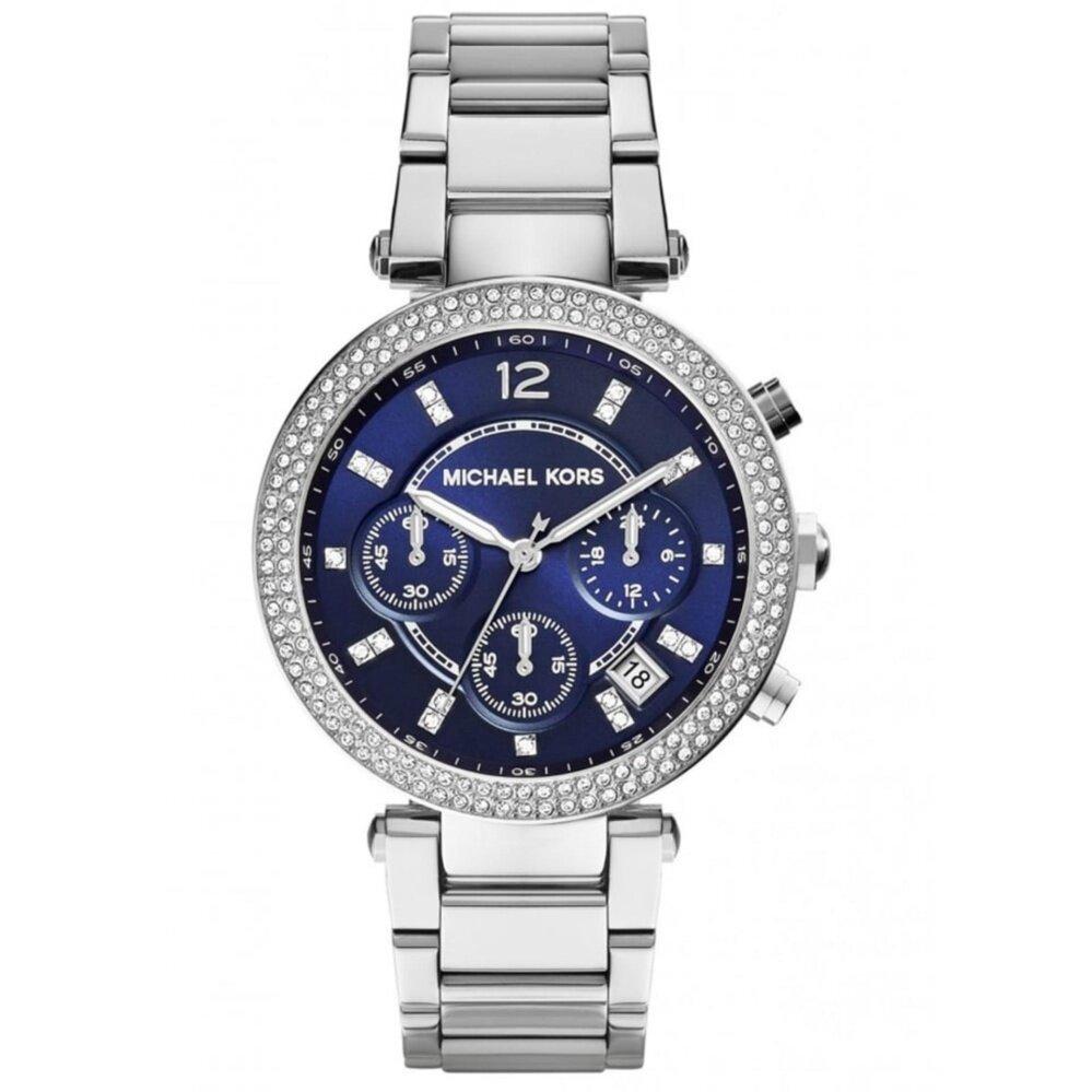 Fashion Michael Kors Womens Parker Chrono Crystal Bezel Navy Dial Watch MK6117 Hot Malaysia