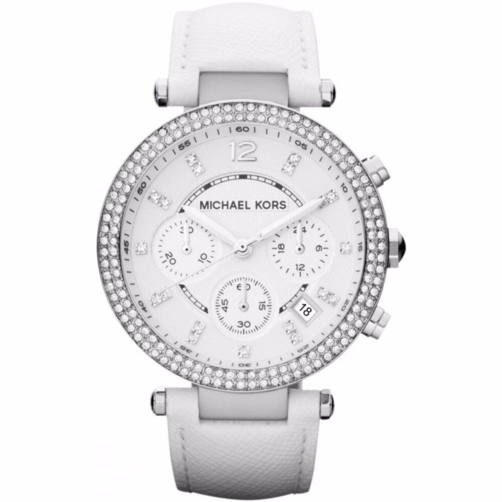 Michael Kors_Womens Parker Chronograph White Leather Crystal Bezel Watch MK2277 Malaysia