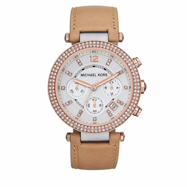 Michael Kors Womens Parker White Dial Bezel Leather Watch MK5633 Malaysia