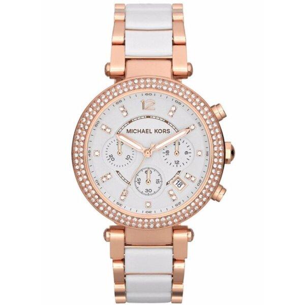Michael Kors Womens Rose Gold Chrono Parker White Dial Watch MK5774 Malaysia