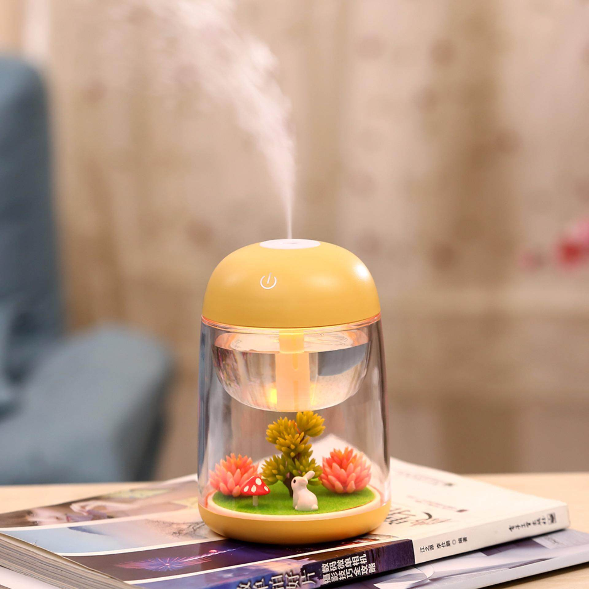 Micro Landscape Usb Humidifier Car Air Purifier Essential Oil Diffuser 180Ml Aroma Essential Oil With Led Light Multi Use For Travel Office Desk Desktop Car Small Baby Bedroom With Water Bottle Yellow Intl Shopping