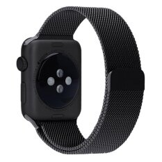 Milanese Magnetic Loop Stainless Watch Band Strap Leather Loop For Apple Watches Black 42mm Malaysia