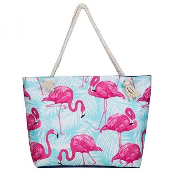 MISS FANTASY Beach Bag Waterproof Flamingo Pineapple Summer Tote With  Waterproof Case