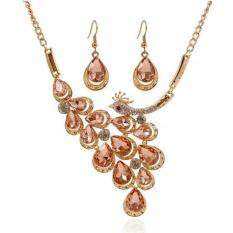 Missing U Gold Plated Gemstone & Crystal Womens Vintage Wedding Party Rhinestone Necklace & Earrings Jewelry Sets