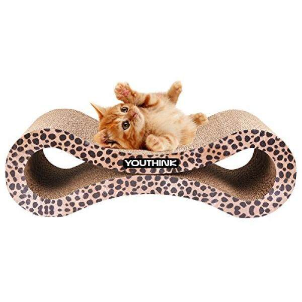 Modern Cat Scratcher Lounge with Catnip Durable Reversible Corrugated Cardboard for Kitty Scratch Protector Furniture Couch Floor Eco-friendly Toy Keep Cats Fun Healthy - Leopard - intl