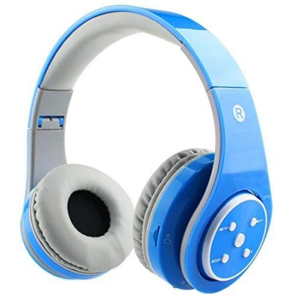 Mokata Anak-anak Headphone Nirkabel Bluetooth Over Telinga Headset Lipat dengan Aux 3.5 Mm Kabel Jack SD Slot Kartu, mikrofon Terpasang Mikrofon untuk Anak Laki-laki Perempuan Ponsel TV PC Permainan Peralatan B06 Biru-Intl