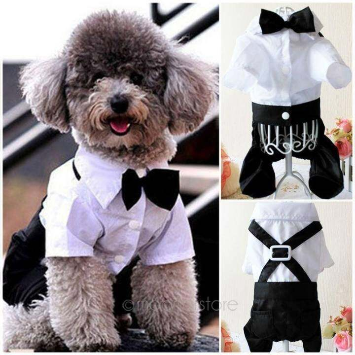 Moonar Handsome Formal Pet Dog Puppy Jumpsuit Groom Tuxedo with Bow Tie Pet Costumes (Size:XL)