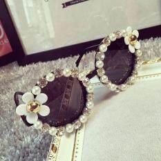 dea1b75f62 Moonar Women Retro Fashion Designer Flower Pearl Outdoor Eyewear Summer  Sunglasses