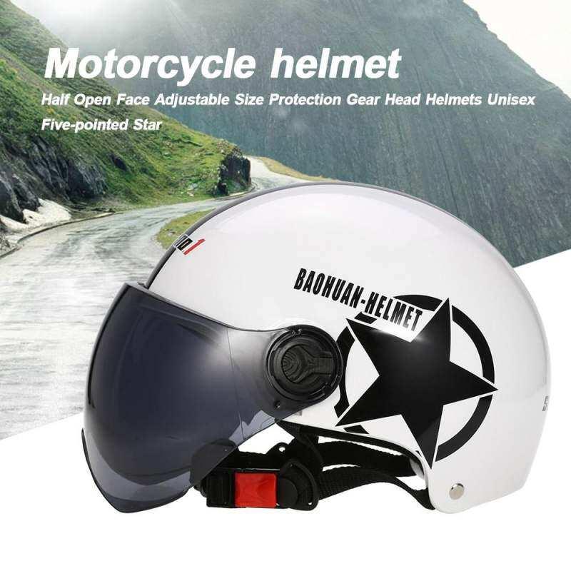 Sepeda Motor Helm Setengah Terbuka Muka Disesuaikan Ukuran Perlengkapan Pelindung Kaus Ukuran XXL Unisex Lima Menunjuk Bintang-Intl