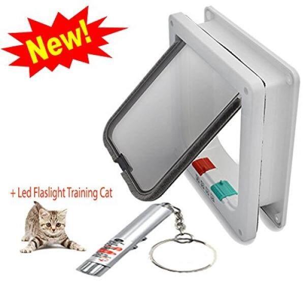 Napupro Besar Pintu Kucing dan Kecil Pintu Anjing, Flap Kucing, untuk Windows, 4 Cara Mengunci (Ukuran Besar 9.2X2.2X10 Inch), Bingkai Telescopic, Penggantian Flap, aman untuk Binatang Peliharaan, Pemasangan Mudah, Pintu Eksterior (L, Putih)-Intl