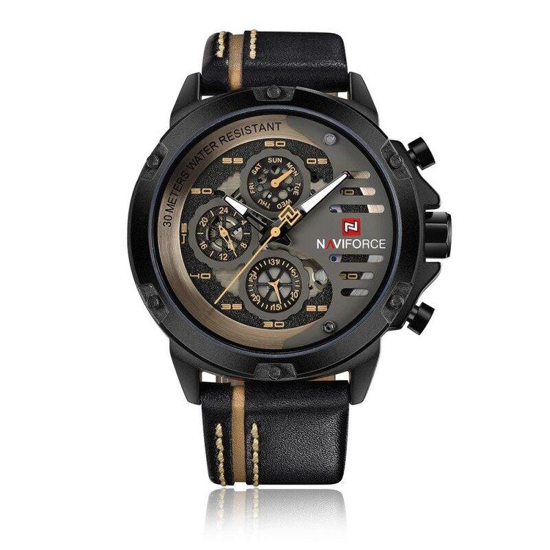 NAVIFORCE Fashion Casual Quartz Watch 3ATM Water-resistant Men Watches Luminous Genuine Leather Wristwatch Male Relogio Musculino Calendar Malaysia