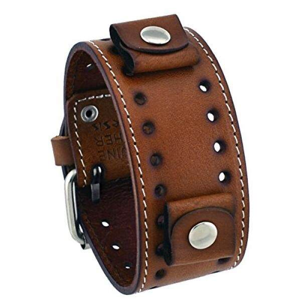 Nemesis Nemesis #STH-B Brown Wide Leather Cuff Wrist Watch Band - intl