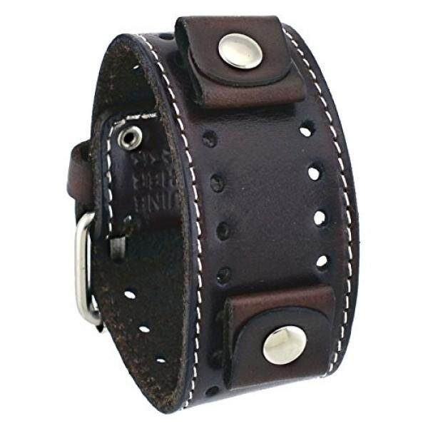 Nemesis Nemesis #STH-BB Dark Brown Wide Leather Cuff Wrist Watch Band - intl