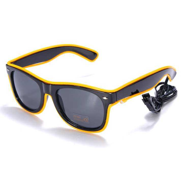 Neon El Wire LED Sound Control Light Up Shutter Shaped Eyewear Costume Yellow