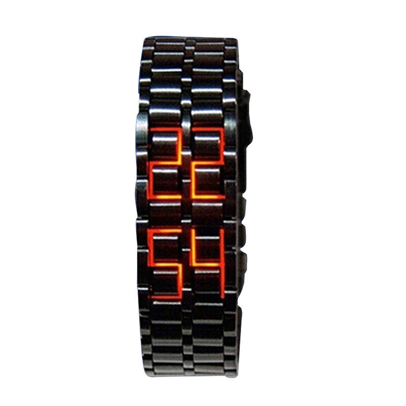 NEW ARRIVAL ! Black Digital LED Red Wrist Watch Iron Metal Samurai Mens Watch Malaysia