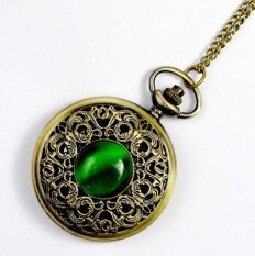 NEW Big Vintage Emerald stone pocket watch Green Necklace woman Jewelry Gothic fashion Malaysia